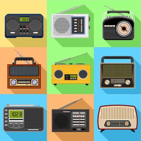 Portable radio icon set. Flat set of 9 portable radio vector icons for web design isolated on white background Ilustracja