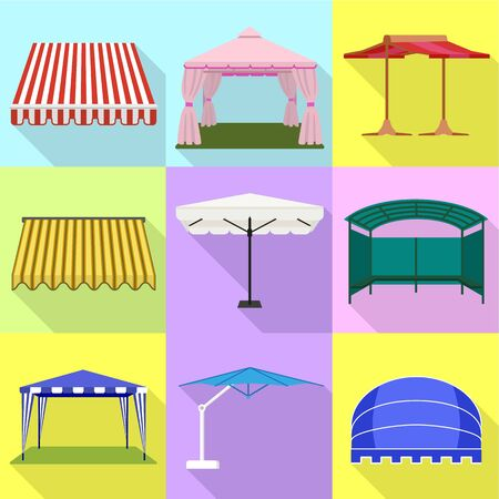 Shelter tent icon set. Flat set of 9 shelter tent vector icons for web design isolated on white background
