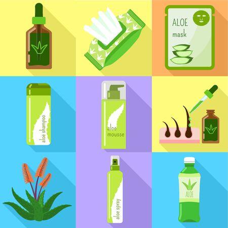 Aloe vera icon set. Flat set of 9 aloe vera vector icons for web design isolated on white background