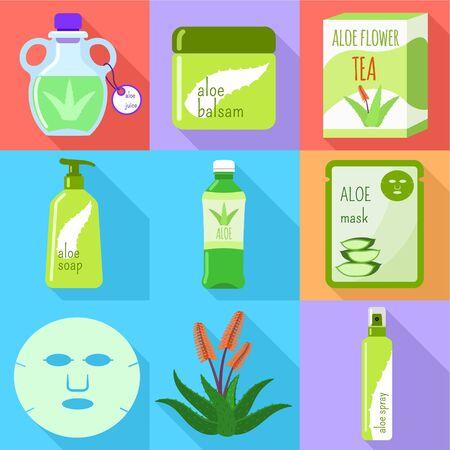 Aloe vera mask icon set. Flat set of 9 aloe vera mask vector icons for web design isolated on white background