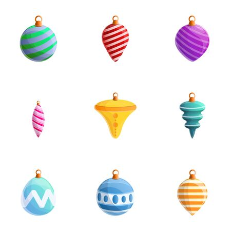 Colorful fir tree toys icon set. Cartoon set of 9 colorful fir tree toys vector icons for web design isolated on white background