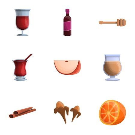 Orange mulled wine icon set. Cartoon set of 9 orange mulled wine vector icons for web design isolated on white background Illustration