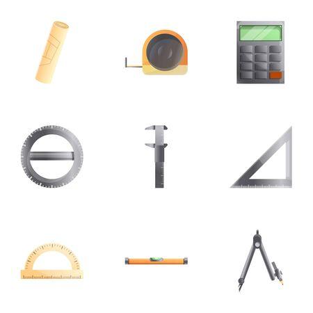 Architect tools icon set. Cartoon set of 9 architect tools vector icons for web design isolated on white background