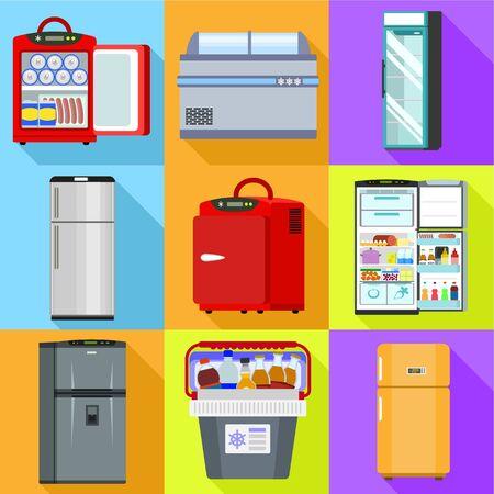 Fridge icon set. Flat set of 9 fridge vector icons for web design isolated on white background