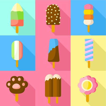ice lolly icon set. Flat set of 9 ice lolly vector icons for web design isolated on white background