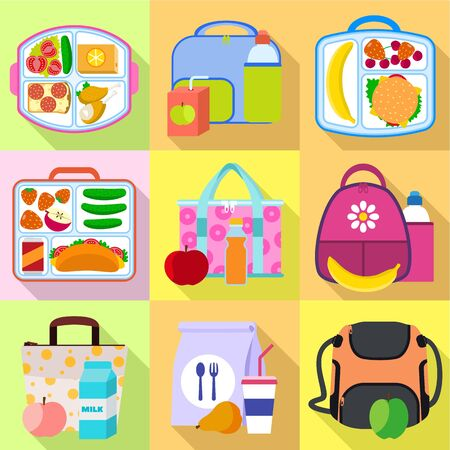 Lunch bag icon set. Flat set of 9 lunch bag vector icons for web design isolated on white background