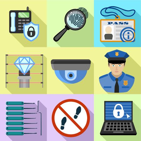 Building security icon set. Flat set of 9 building security vector icons for web design isolated on white background Stockfoto - 129784985
