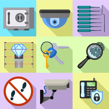 Indoor security icon set. Flat set of 9 indoor security vector icons for web design isolated on white background