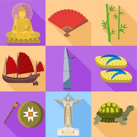 Vietnam landmark icon set. Flat set of 9 vietnam landmark vector icons for web design isolated on white background