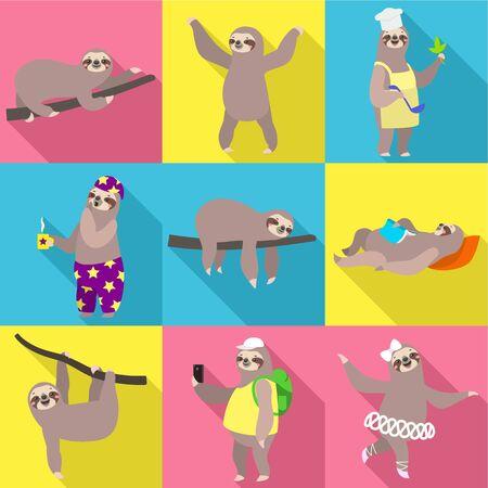 Sloth icon set. Flat set of 9 sloth vector icons for web design isolated on white background Ilustracja