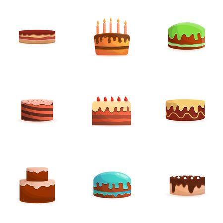 Sweet cake icon set. Cartoon set of 9 sweet cake vector icons for web design isolated on white background