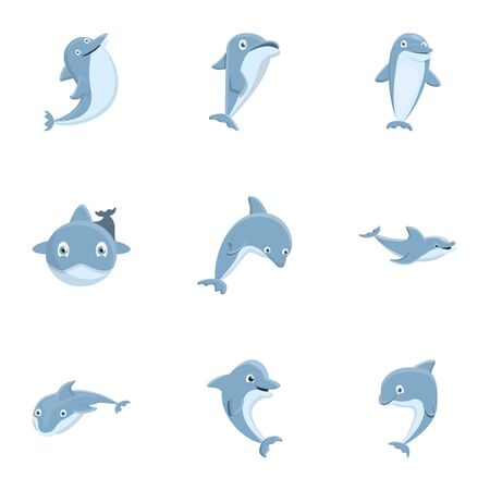 Grey dolphin icon set. Cartoon set of 9 grey dolphin vector icons for web design isolated on white background
