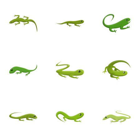 Lizard icon set. Cartoon set of 9 lizard vector icons for web design isolated on white background