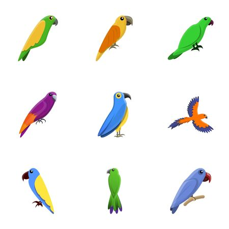 Colorful parrot icon set. Cartoon set of 9 colorful parrot vector icons for web design isolated on white background Ilustração