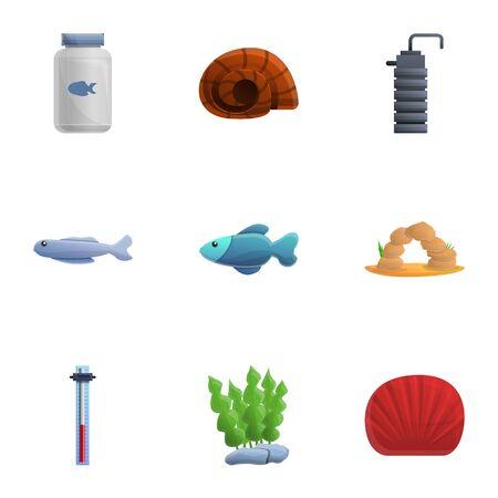 Aquarium element icon set. Cartoon set of 9 aquarium element vector icons for web design isolated on white background 写真素材 - 129784998