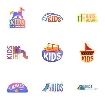 Yard playground logo set. Cartoon set of 9 yard playground vector logo for web design isolated on white background Illustration