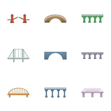 Modern bridge icon set. Cartoon set of 9 modern bridge vector icons for web design isolated on white background