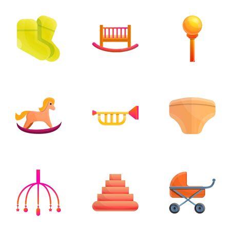 Baby toy icon set. Cartoon set of 9 baby toy vector icons for web design isolated on white background Illusztráció