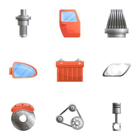 Car spare parts icon set. Cartoon set of 9 car spare parts vector icons for web design isolated on white background