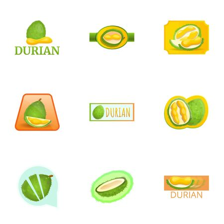 Juice durian logo set. Cartoon set of 9 juice durian vector logo for web design isolated on white background