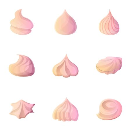 Meringue icon set. Cartoon set of 9 meringue vector icons for web design isolated on white background Illustration