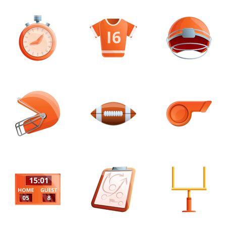 American football sport icon set. Cartoon set of 9 american football sport vector icons for web design isolated on white background Ilustracja