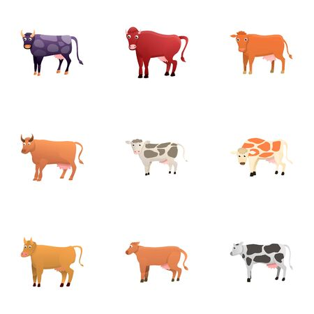 Farm cow icon set. Cartoon set of 9 farm cow vector icons for web design isolated on white background
