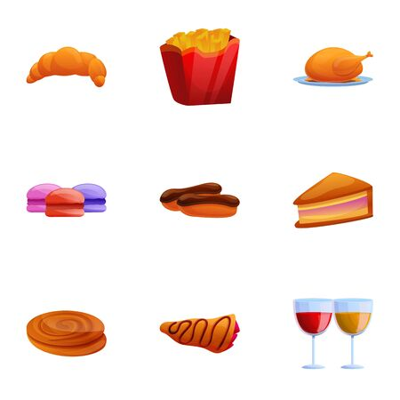 French bakery icon set. Cartoon set of 9 french bakery vector icons for web design isolated on white background