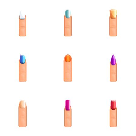 Colorful nail icon set. Cartoon set of 9 colorful nail vector icons for web design isolated on white background 写真素材 - 129785059