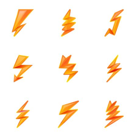 Electric lightning bolt icon set. Cartoon set of 9 electric lightning bolt vector icons for web design isolated on white background