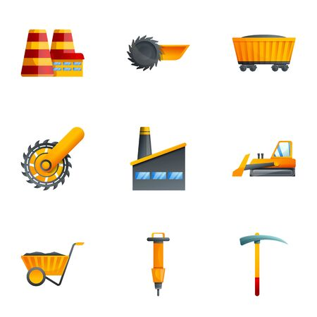 Coal industry icon set. Cartoon set of 9 coal industry vector icons for web design isolated on white background  イラスト・ベクター素材