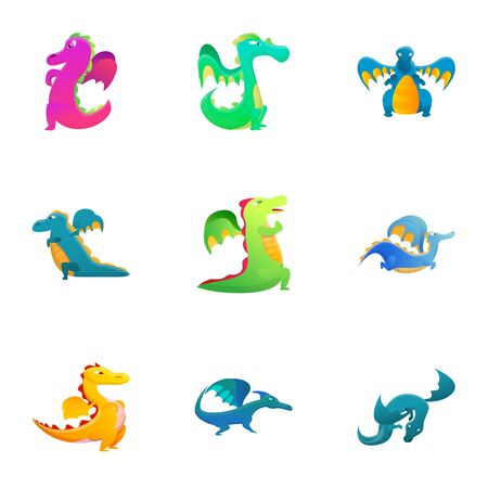 Colorful dragon icon set. Cartoon set of 9 colorful dragon vector icons for web design isolated on white background