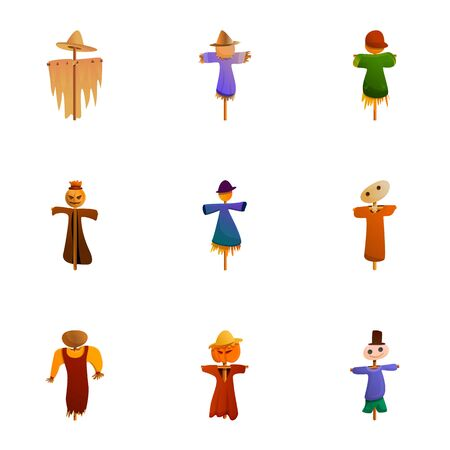 Garden scarecrow icon set. Cartoon set of 9 garden scarecrow vector icons for web design isolated on white background