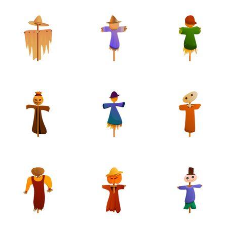 Garden scarecrow icon set. Cartoon set of 9 garden scarecrow vector icons for web design isolated on white background