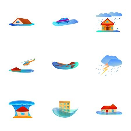 Natural cataclysm icon set. Cartoon set of 9 natural cataclysm vector icons for web design isolated on white background  イラスト・ベクター素材