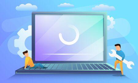 Laptop system update concept banner. Cartoon illustration of laptop system update vector concept banner for web design