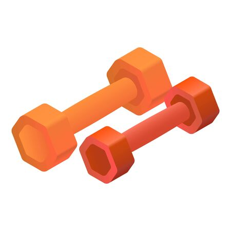 Colorful fitness dumbbell icon. Isometric of colorful fitness dumbbell vector icon for web design isolated on white background 写真素材 - 128435007