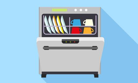 Modern dishwasher icon. Flat illustration of modern dishwasher vector icon for web design