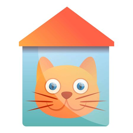 House cat logo. Cartoon of house cat vector logo for web design isolated on white background