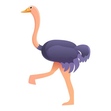 Walking ostrich icon. Cartoon of walking ostrich vector icon for web design isolated on white background Ilustração