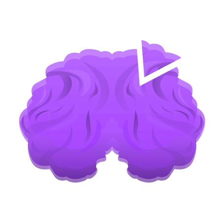 Violet brain icon. Cartoon of violet brain vector icon for web design isolated on white background