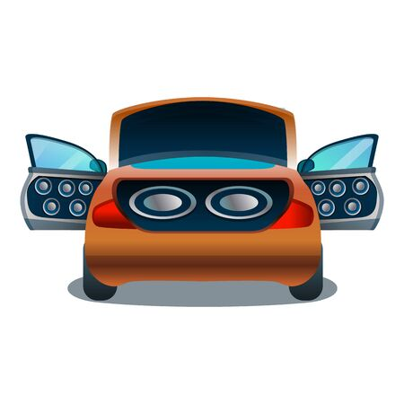 Car audio system icon. Cartoon of car audio system vector icon for web design isolated on white background