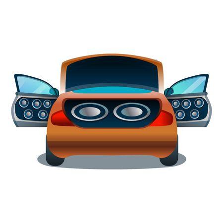 Symbol für das Auto-Audiosystem. Cartoon des Auto-Audiosystem-Vektorsymbols für Webdesign isoliert auf weißem Hintergrund