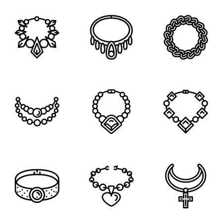 Gemstone jewelry icon set. Outline set of 9 gemstone jewelry vector icons for web design isolated on white background Illustration