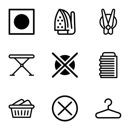 Laundry service icon set. Outline set of 9 laundry service vector icons for web design isolated on white background