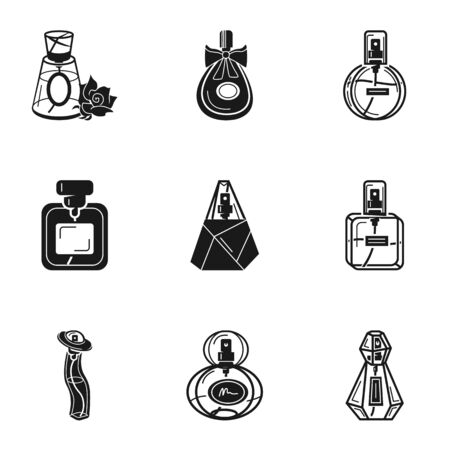Glamour perfume icon set. Simple set of 9 glamour perfume vector icons for web design isolated on white background Illustration