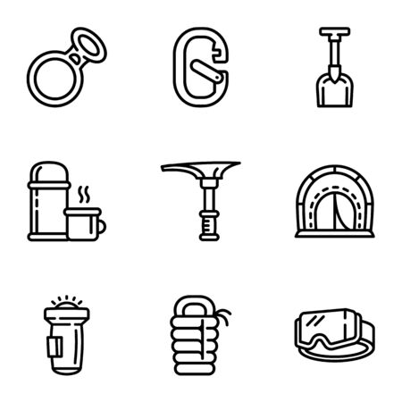 Hiking equipment icon set. Outline set of 9 hiking equipment vector icons for web design isolated on white background