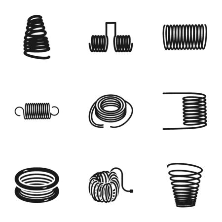 Magnetic coil icon set. Simple set of 9 magnetic coil vector icons for web design isolated on white background