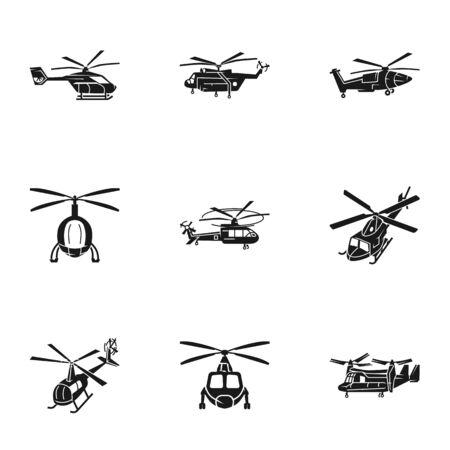 Hubschraubertransport-Icon-Set. Einfacher Satz von 9 Hubschraubertransportvektorikonen für das Webdesign lokalisiert auf weißem Hintergrund