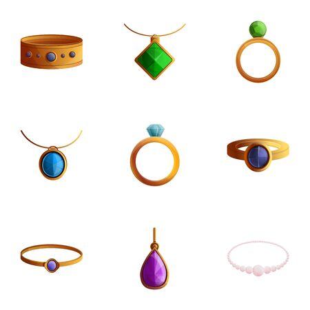 Luxury jewelry icon set. Cartoon set of 9 luxury jewelry vector icons for web design isolated on white background